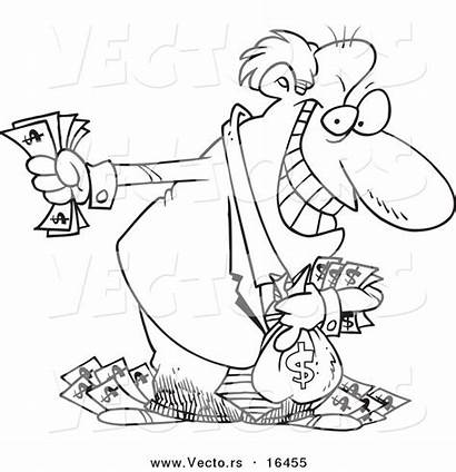 Rich Greedy Money Drawing Coloring Cartoon Holding