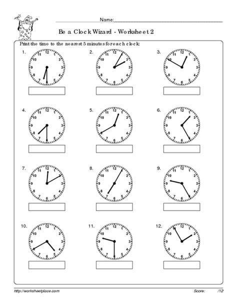 numeral clock worksheets 2nd grade 2nd grade worksheets printable