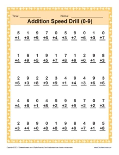 addition speed drill 0 9 math worksheets