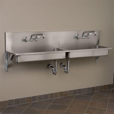 wall hung stainless steel sinks 72 quot double bowl stainless steel wall mount commercial sink