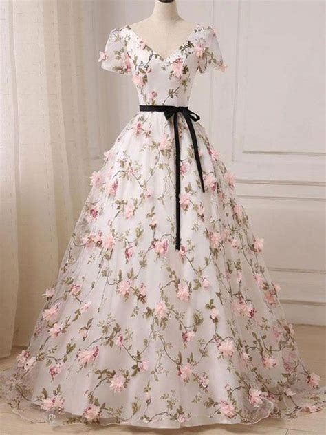 ball gown prom dresses  neck floor length floral long