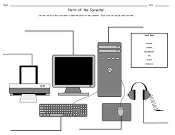 Parts The Computer Worksheet Down Wire Tpt