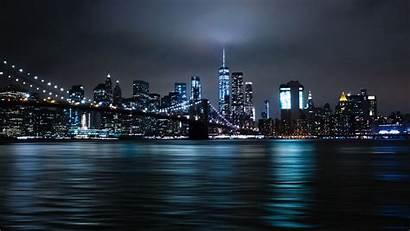 Night York Lights Bridge Brooklyn 5k Wallpapers
