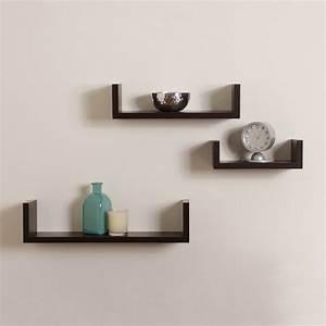 Elegant Floating Shelves U Walnut Brown Finish Set of 3