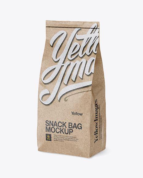 More than 100 categories, over 5000 mockups. Free Mockups Kraft Snack Bag Mockup - Half Side View ...