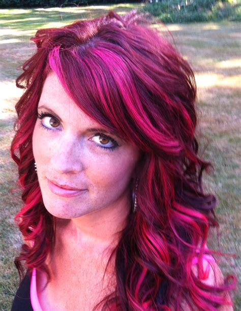 My Auburn Red Hair Highlighted With Hot Pink Magenta Woven