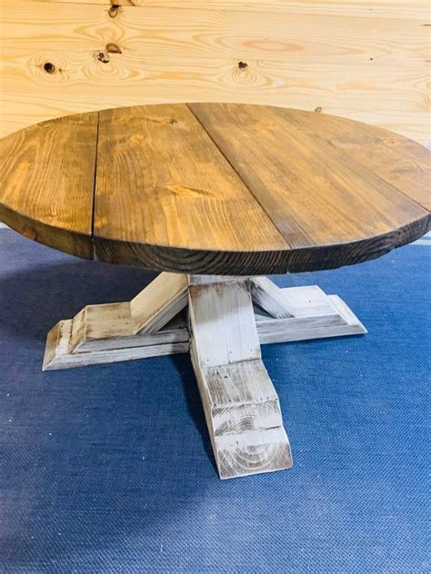 How about adding a diy farmhouse coffee table to your. Rustic Farmhouse Round Coffee Table with Chunky Pedestal Brown   Etsy in 2020   Wooden living ...
