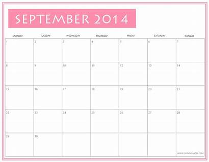Calendar September Printable October Calendars Shiningmom Pink