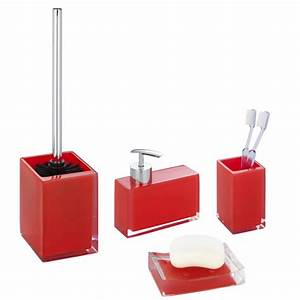 Wenko visone bathroom accessories set red at victorian for Red bathroom accessories