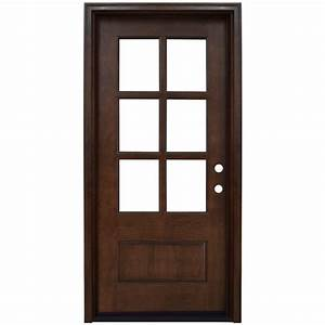 Steves & Sons 36 in. x 80 in. Craftsman 6 Lite Stained ...