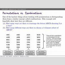 Permutations And Combinations  Acu Mathcasts