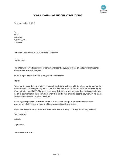 Cover Letter For Contract Agreement by Confirmation Purchase Agreement Cover Letter Templates
