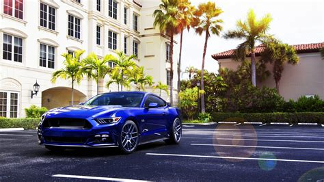 Car Wallpaper For Home by Car Ford Mustang Blue Cars Palm Trees Wallpapers Hd