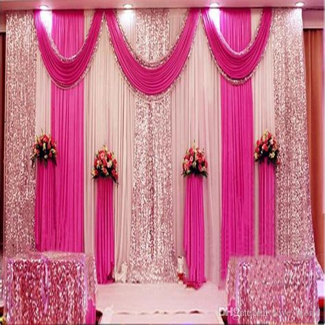Background Decorations by A Set 3x6m Luxury Wedding Background Gauze Curtain