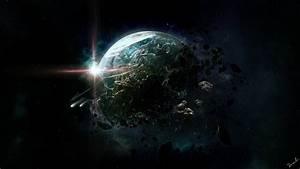 Art space planet destruction asteroids debris rings stars ...
