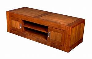 Meuble Bois Exotique : photo meuble tv bas bois exotique ~ Premium-room.com Idées de Décoration