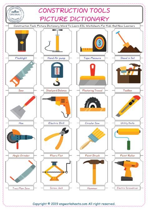 construction tools esl printable english vocabulary worksheets