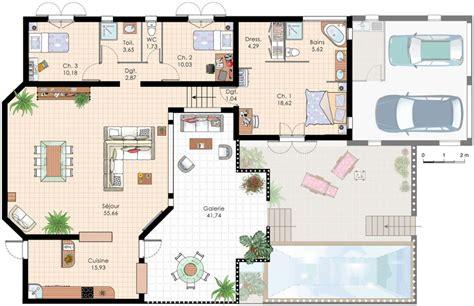 plan maison plein pied 4 chambres plan de villa recherche plan de maison
