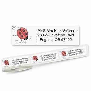 ladybug rolled return address labels colorful images With clear return address labels roll