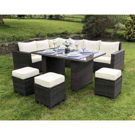 Garden Furniture Sale by Alba Rattan Corner Sofa Casual Dining Set In Brown