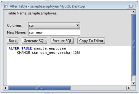 sql change table name mysql rename a column on an mysql database table using the