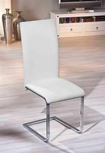 Chaises de salle a manger design coloris blanc lot de 2 for Chaises de salle à manger design