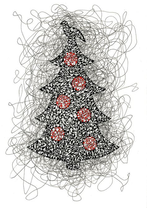 christmas tree   ink drawing drawing  karla beatty