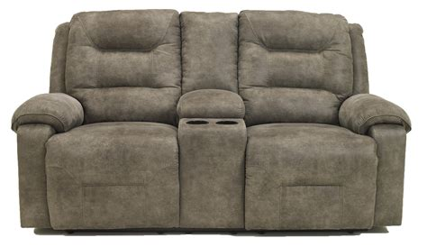 Contemporary Reclining Loveseat by Contemporary Manual Reclining Loveseat W Console By