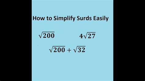 Simplifying Surds Easily  The Trick For Gcse And Alevel