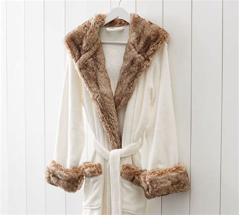 pottery barn robe faux fur robe ivory caramel ombre pottery barn