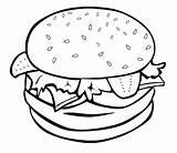 Coloring Junk Pages Hamburger Burger Printable Drawing Bun Sheets Visit sketch template