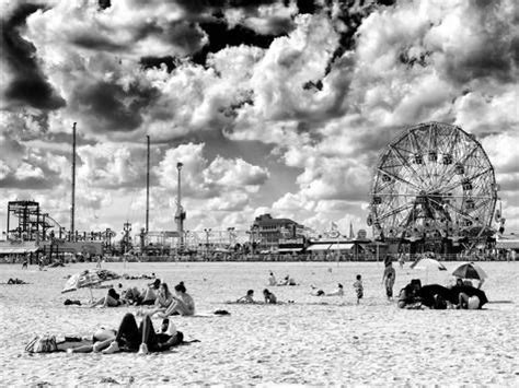 Vintage Beach, Wonder Wheel, Black And White Photography