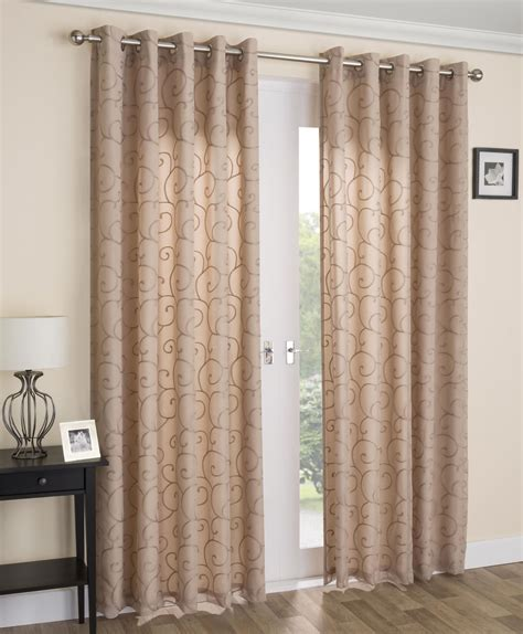venice swirl lined voile curtains ready made ring top