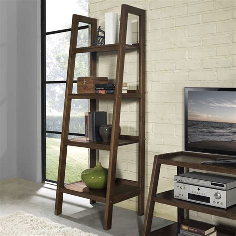 Simpli Home Sawhorse Ladder Shelf Bookcase  Bookcases At