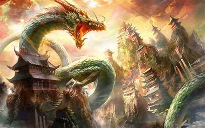 Dragon Asian Oriental Castle Fantasy Wallpapers Chinese