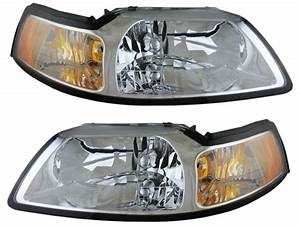 1999 - 2004 FORD MUSTANG (CHROME) HEADLIGHTS HEADLAMPS LIGHTS LAMPS PAIR | eBay