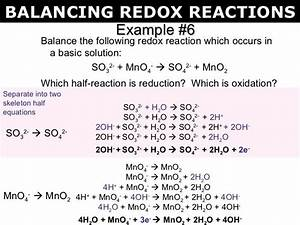 Example  6 Balance The Following Redox Reaction Which Occurs In A Basic Solution  So 3 2