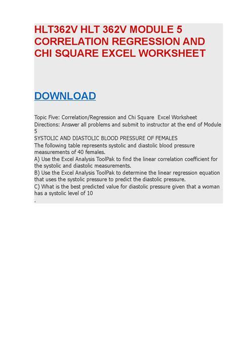 hlt362v hlt 362v module 4 anova excel worksheet by