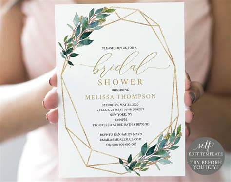 TRY BEFORE You BUY Bridal Shower Invitation Template 100