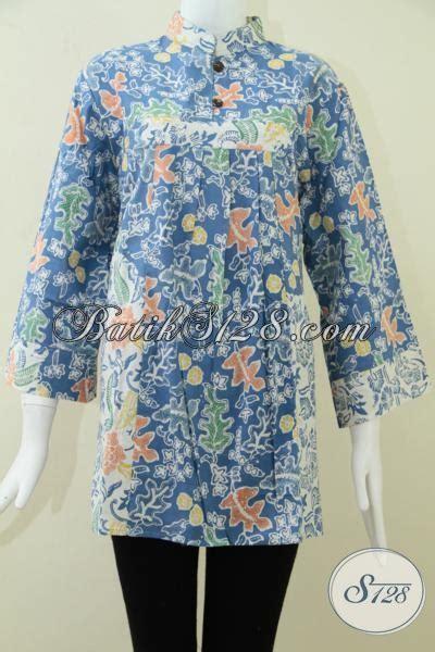 baju batik wanita warna birublus kerja batik wanita