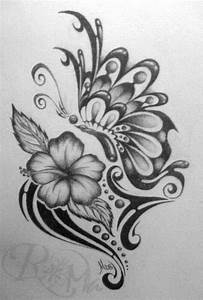 cool butterfly drawings | Tribal Butterfly And Flower ...