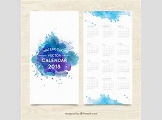 Blue watercolor stains 2018 calendar Vector Free Download