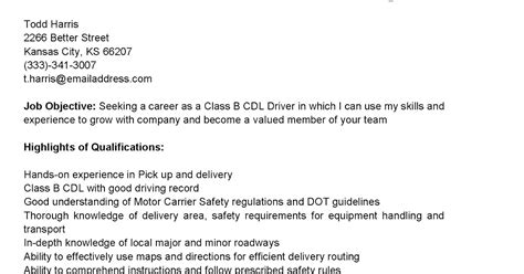 Class B Driver Resume by Driver Resumes Class B Cdl Driver Resume Sle