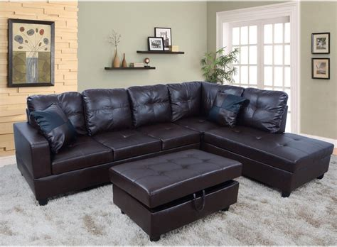 hton leather reversible sectional and storage ottoman f093b espresso faux leather sectional set with storage