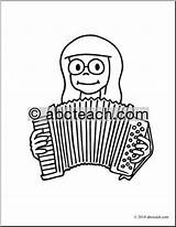 Accordion Coloring Clip Playing Abcteach sketch template