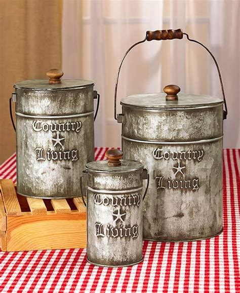 country living set  metal canisters rustic primitive