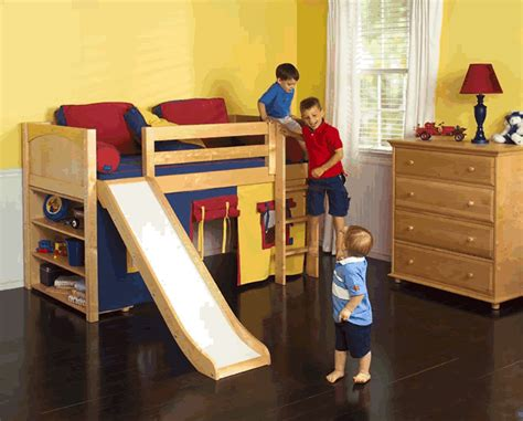 Play Fort Low Loft Bed W/ Slide By Maxtrix Kids (blue/red