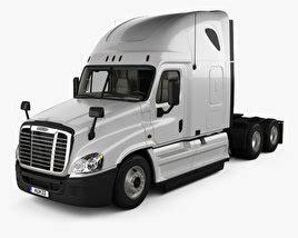 freightliner interior model freightliner cascadia sleeper cab tractor truck 2007 3d