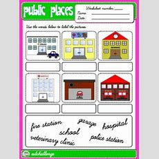 Public Places Worksheet Picture Dictionary (available In B&w)  English Step By Step 3rd