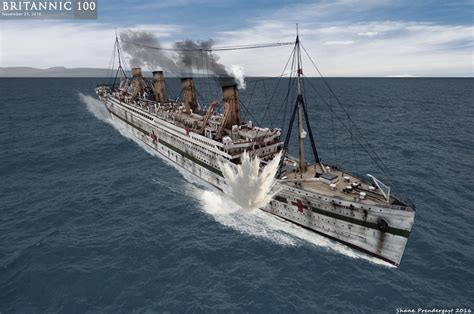 the sinking of the britannic britannic mine explosion by lusitania25 on deviantart